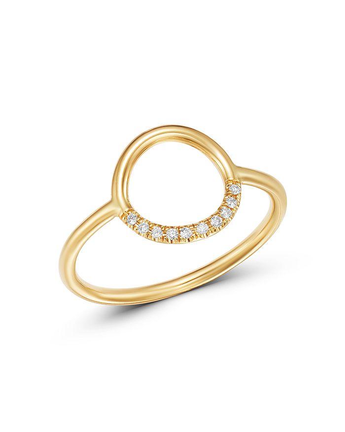 Zoë Chicco 14K Yellow Gold Small Thick Circle Pavé Diamond Ring