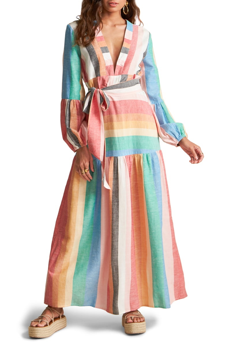 Billabong x Sincerely Jules Mix it Up Stripe Long Sleeve Maxi Dress