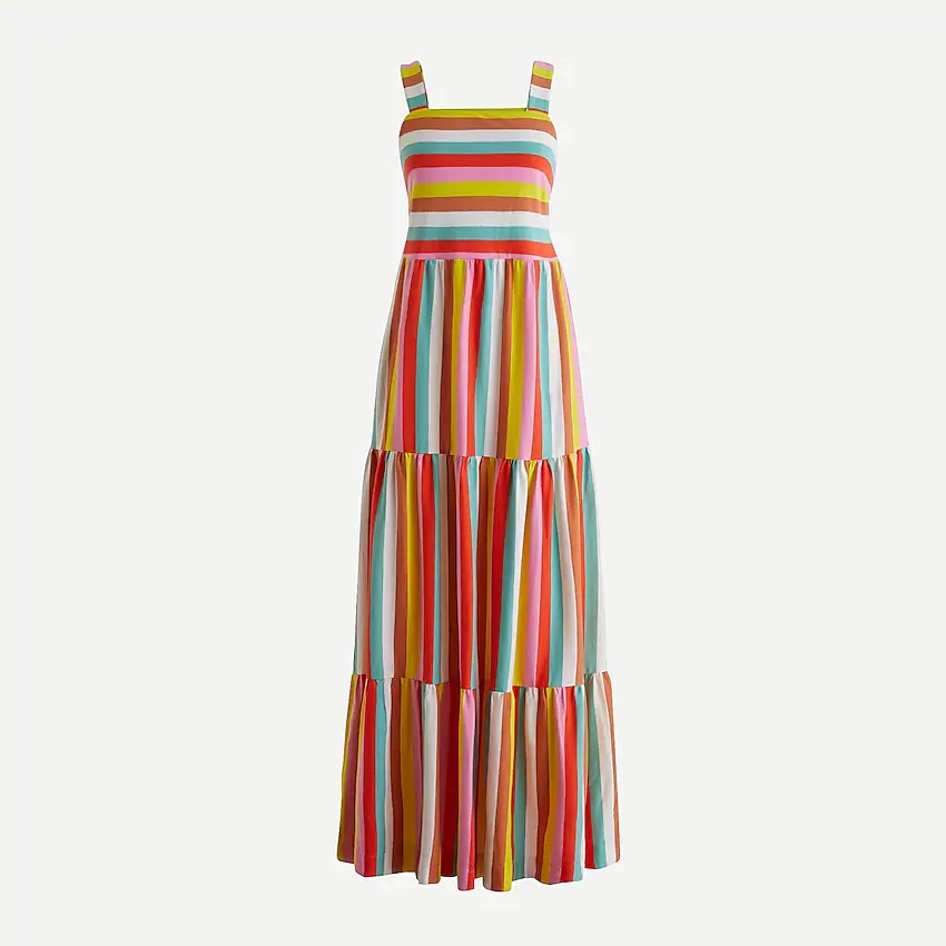JCrew Maxi dress in rainbow stripe