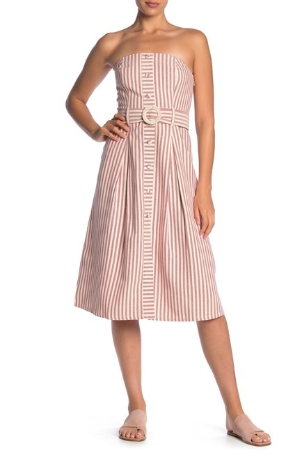Moon river Stripe Print Belted Dress