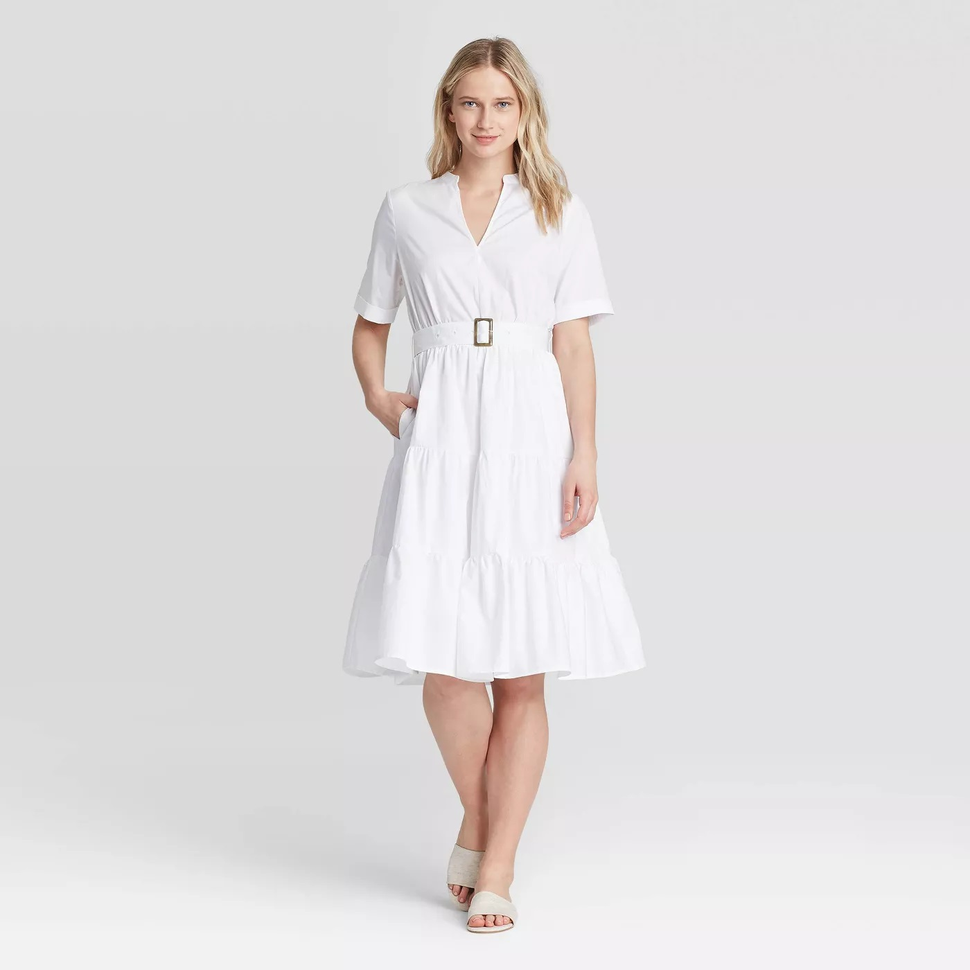 Who What Wear Short Sleeve Belted Tiered Dress